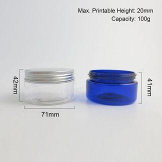 Plastic- PET Jar- Clear-Aluminum Screw Lid-10x100gms
